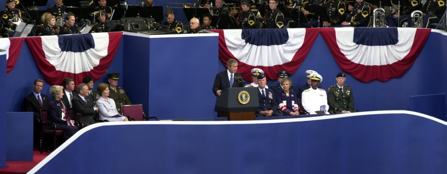 Arlington, VA, September 11, 2002 -- President George W. Bush makes remarks during the Pentagon Obervance ceremony held September 11, 2002 at the Pentagon.Photo by Jocelyn Augustino/ FEMA News Photo